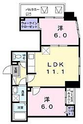 東京メトロ東西線 葛西駅 徒歩10分の賃貸マンション 6階2LDKの間取り