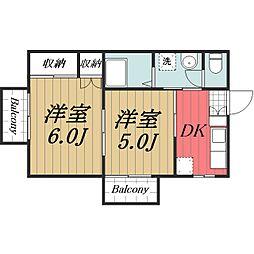 JR総武本線 南酒々井駅 徒歩10分の賃貸アパート 1階2DKの間取り