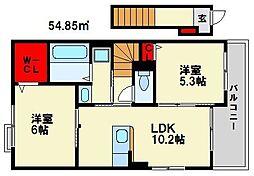 ボンヌ・シャンスII 2階2LDKの間取り