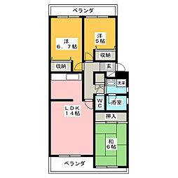 サンハイツ21 B棟[1階]の間取り