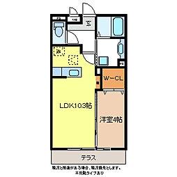 フローラ稲葉[3階]の間取り