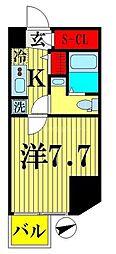 都営新宿線 西大島駅 徒歩4分の賃貸マンション 8階1Kの間取り