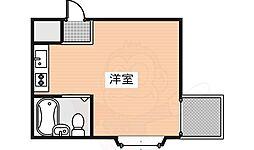 ウエルネス帝塚山 1階ワンルームの間取り
