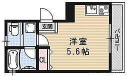 ロフティ伏見稲荷駅前 2階ワンルームの間取り