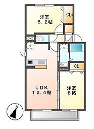 クオーレB棟[2階]の間取り