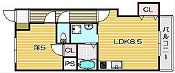 第一萩谷マンション[305号室]の間取り