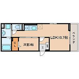 JR東海道本線 静岡駅 徒歩8分の賃貸マンション 3階1LDKの間取り
