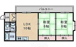 ハイツ上田 2階2DKの間取り
