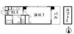 広島高速交通アストラムライン 伴駅 徒歩3分の賃貸マンション 5階1Kの間取り