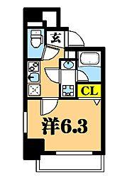 LUXENA東品川 5階1Kの間取り