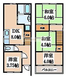 [一戸建] 大阪府堺市北区北花田町4丁 の賃貸【/】の間取り