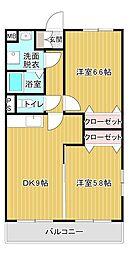 シャトーププレ 3階2DKの間取り