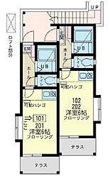 神奈川県横浜市保土ケ谷区新井町の賃貸アパートの間取り