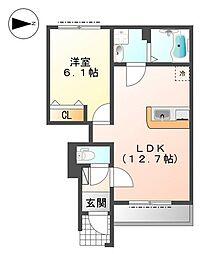 (仮称)久宝寺3丁目賃貸アパート[1階]の間取り