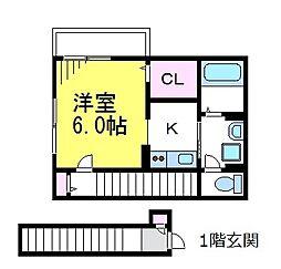 JR中央線 東小金井駅 徒歩3分の賃貸アパート 2階1Kの間取り