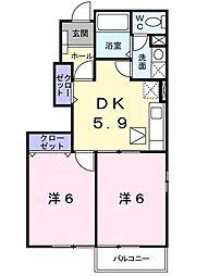 神奈川県小田原市小八幡2丁目の賃貸アパートの間取り