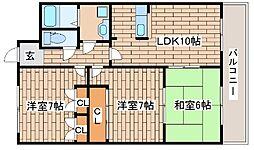 兵庫県神戸市東灘区御影石町4丁目の賃貸マンションの間取り