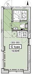 JR山手線 恵比寿駅 徒歩10分の賃貸マンション 3階ワンルームの間取り