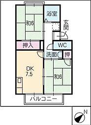 セジュール四ッ谷[2階]の間取り