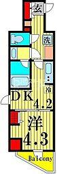 ラフィスタ北綾瀬 4階1DKの間取り