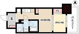 パークアクシス名古屋山王橋 10階1DKの間取り