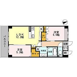 南海線 泉大津駅 徒歩10分の賃貸マンション 3階2LDKの間取り