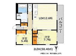 NLC豊中グリーンプレイス2 2階2LDKの間取り
