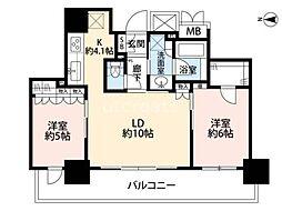 ブランズタワー・ウェリス心斎橋NORTH 22階2LDKの間取り