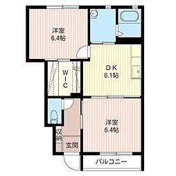 メゾンボヌールK A[1階]の間取り