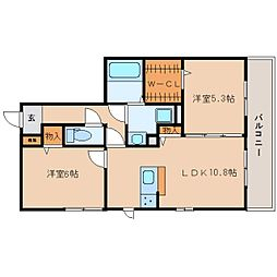 近鉄生駒線 一分駅 徒歩1分の賃貸アパート 3階2LDKの間取り