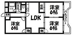 菊ハイツ[402号室]の間取り