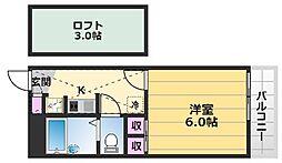レオパレスMINAMI 1階1Kの間取り