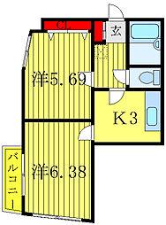 都営三田線 西巣鴨駅 徒歩6分の賃貸マンション 2階2Kの間取り