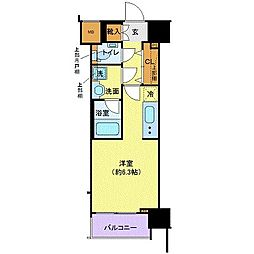 JR山手線 浜松町駅 徒歩9分の賃貸マンション 8階ワンルームの間取り