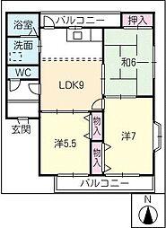ビレッジ亀沢C棟[2階]の間取り