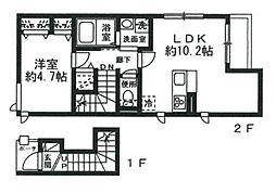 JR山手線 恵比寿駅 徒歩10分の賃貸アパート 1階1LDKの間取り