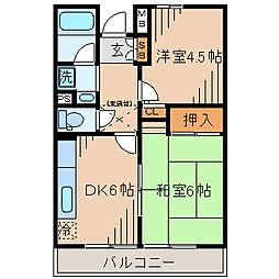 西山第9エルム大倉山[105号室]の間取り
