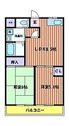 東京都昭島市大神町3丁目の賃貸マンションの間取り