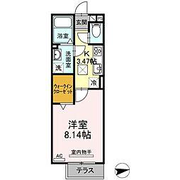 D-room甲山寺 2階1Kの間取り