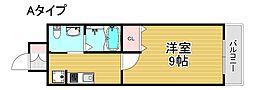 リアライズ住之江公園 7階1Kの間取り