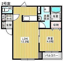 Kelii駒場車庫 2階1LDKの間取り