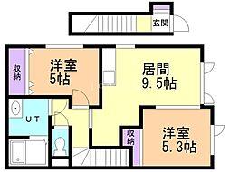 仮)新琴似7条5丁目新築アパート 2階2DKの間取り