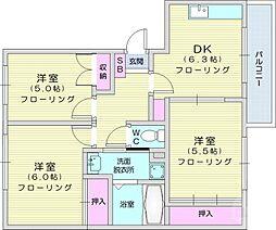 JR東北本線 南仙台駅 徒歩20分の賃貸マンション 3階3DKの間取り