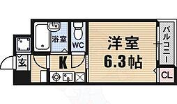 ベルシモンズ大阪港 2階1Kの間取り