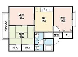 福岡県北九州市小倉南区中吉田1丁目の賃貸アパートの間取り