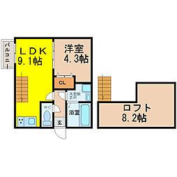 名古屋市営東山線 中村公園駅 徒歩6分の賃貸アパート 1階1SLDKの間取り