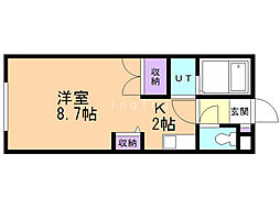 リジェ中島 2階1Kの間取り