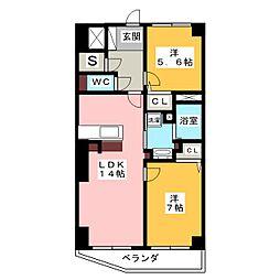 コートサイド杁中[2階]の間取り