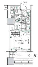 ローレルタワールネ浜松町 3階1Kの間取り