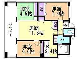 札幌市営南北線 さっぽろ駅 徒歩9分の賃貸マンション 1階3LDKの間取り